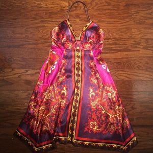 Handkerchief silky tropical dress